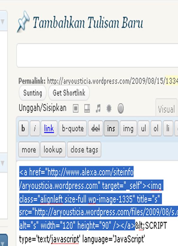 gambar cara mudah memasang alexa di wordpress.HTML