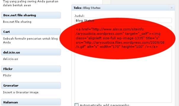 gambar cara mudah memasang alexa di wordpress.widget